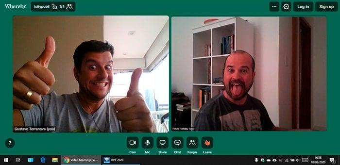 Uma reunião Home office bem Humorada de Gustavo Terranova e Flávio Halliday